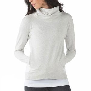 Lululemon On The Double Pullover Heathered White Stretch French Terry Sz 6